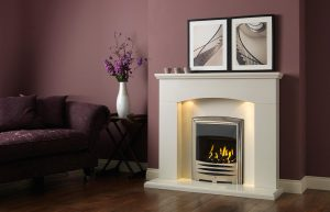 Cartmel Fireplace Suite In Polar White with Solaris Chrome Fire
