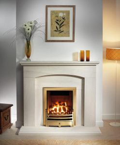 Cartmel Fireplace Suite In Portuguese Limestone With Bauhaus Fire