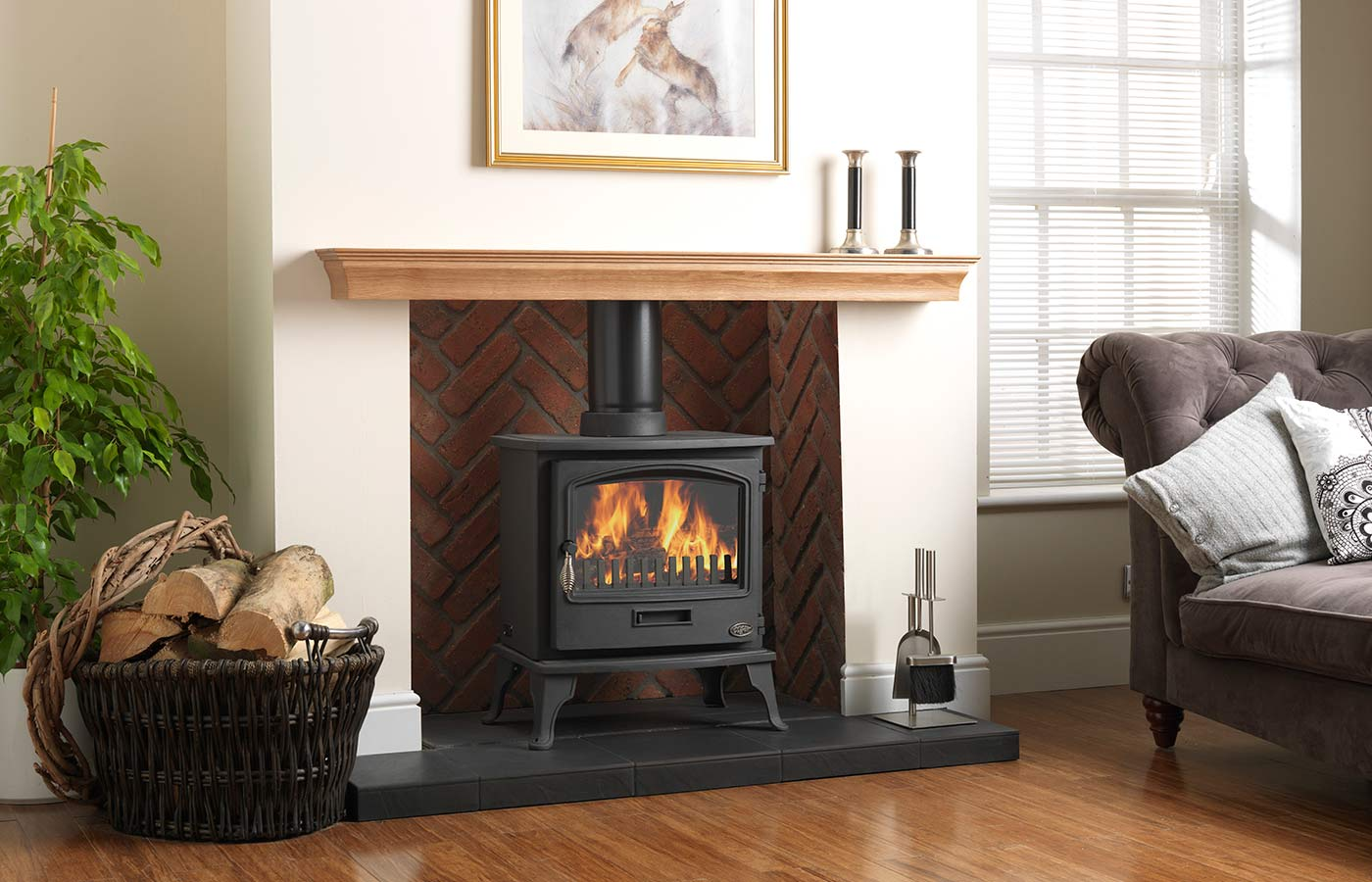 Tiger Stove with Rustic Herringbone Brick Chamber and Slabbed Porcelain Slate Hearth