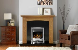 Abbey Fireplace Suite in Light Oak Veneered MDF with Vision Callisto in Chrome Finish with Open-Fronted Gas Convector Fire