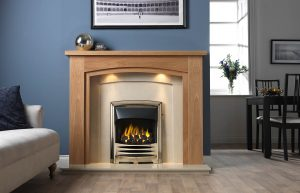 Allerton Fireplace Suite in Light Oak Veneered MDF with Perla Marble Back Panel and Hearth, with Gallery Solaris Antique Brass Finish, with Open-Fronted Gas Convector Fire