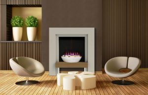Alto Fireplace Suite in Cool White Finish with Light Oak Veneered MDF Shelf