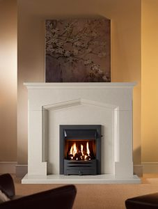 Coniston Fireplace Suite in Perla Marble with Clevedon Black and Open Fronted Gas Fire