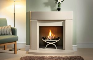 """Clifton 42"""" Fireplace Suite in Cotswold Jurastone with Jurastone Back Hearth, Natural Reeded Fireboard Chamber and Pulse Fire Basket in Chrome"""