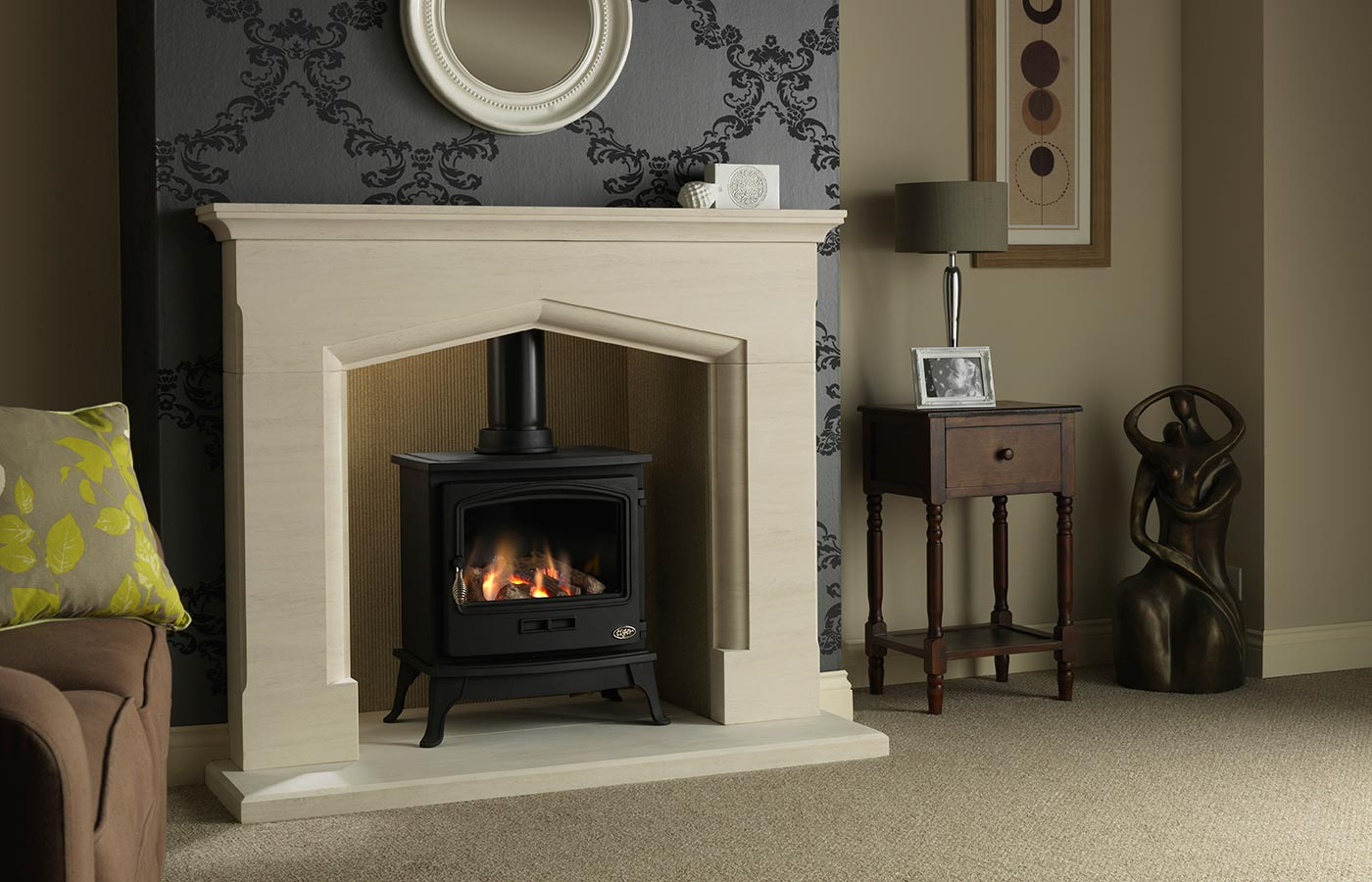 "Tiger Gas Stove with Consiton 54"" Portuguese Limestone Suite, Natural Reeded Fireboard Chamber and Portuguese Limestone Back Hearth"