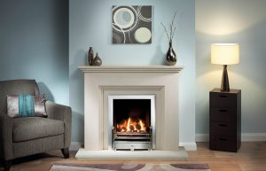 """Cranbourne Fireplace Suite in Portuguese Limestone with Gallery 18"""" Bauhaus Chrome and Neptune Trim in Brushed Steel with Open-Fronted Gas Fire"""