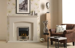 Dacre Fireplace Suite in Cotswold Jurastone with Gallery Solaris and High Efficiency Glass-Fronted Gas Convector Fire (Slide Control)