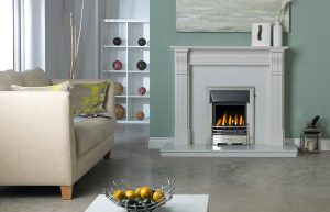 Dublin Corbel Fireplace Suite in Lunar White Micro Marble with Gallery Baltimore in Polished Finish with Glass-Fronted Gas Convector Fire