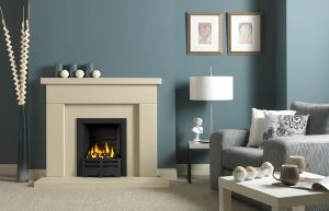 """Durrington 48"""" Fireplace Suite in Chiltern Jurastone, with Gallery Emperor (black) and Decorative Gas Fire"""