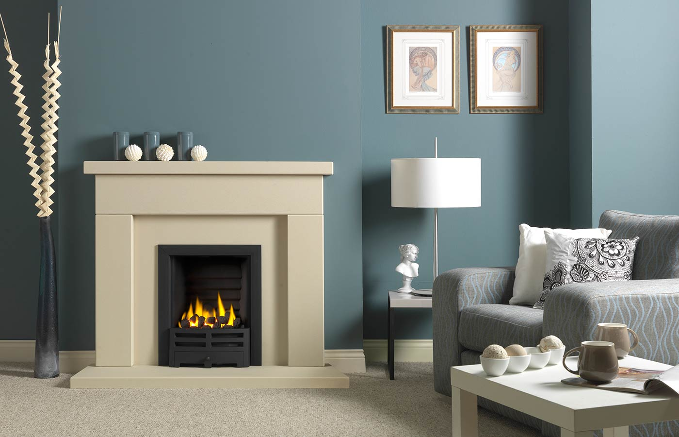 "Durrington 48"" Fireplace Suite in Chiltern Jurastone, with Gallery Emperor (black) and Decorative Gas Fire"
