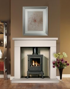 Durrington Fireplace Suite in Chiltern Jurastone with Firefox 5 Gas Stove