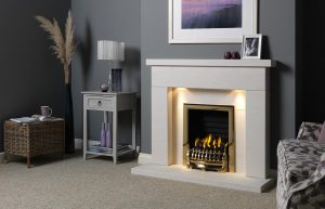 """Durrington 48"""" Fireplace Suite in Portuguese Limestone with Gallery Blenheim (Antique Brass) and Decorative Gas Fire"""