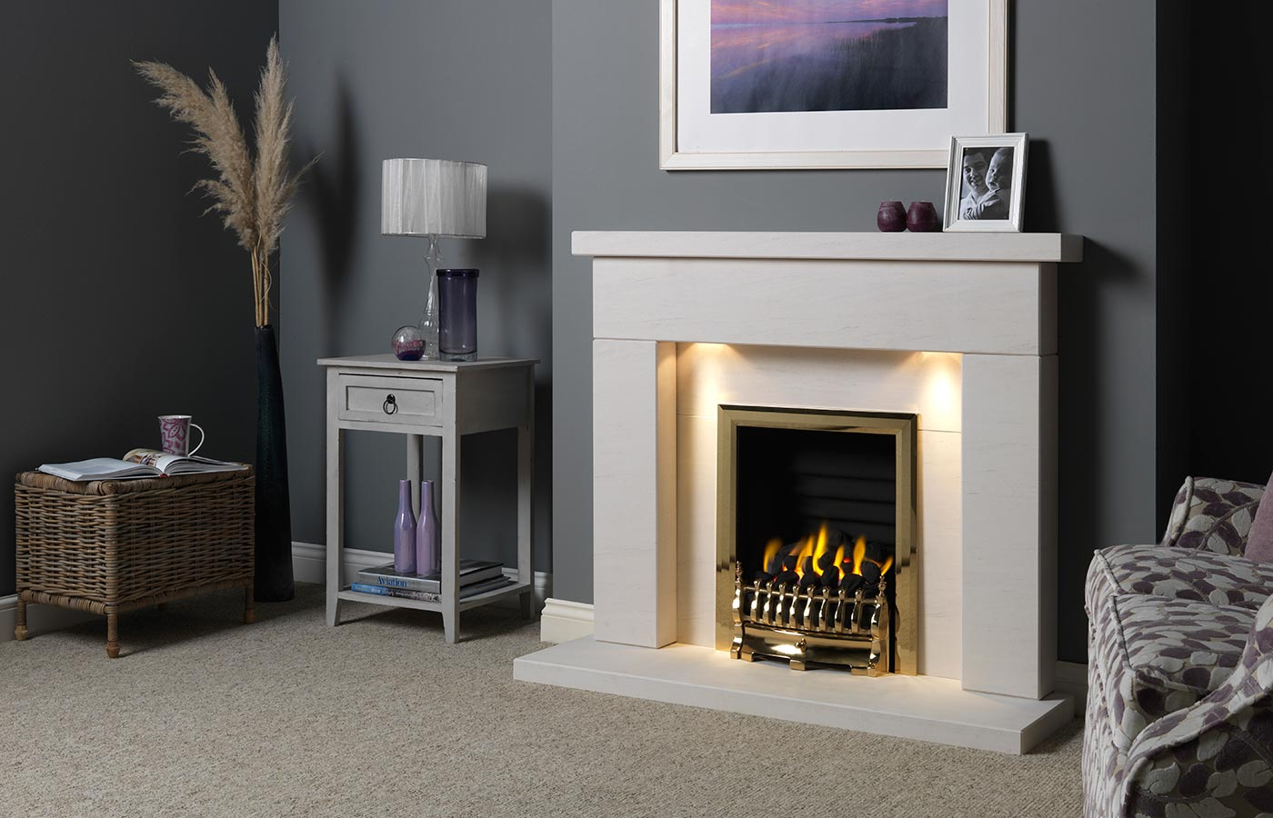"Durrington 48"" Fireplace Suite in Portuguese Limestone with Gallery Blenheim (Antique Brass) and Decorative Gas Fire"