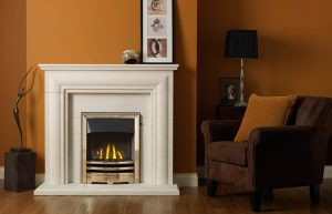 """Ellerby 48"""" Fireplace Suite in Portuguese Limestone with Vision EOS (antique brass) and High Efficiency Glass-Fronted Gas Convector Fire (Slide Control)"""