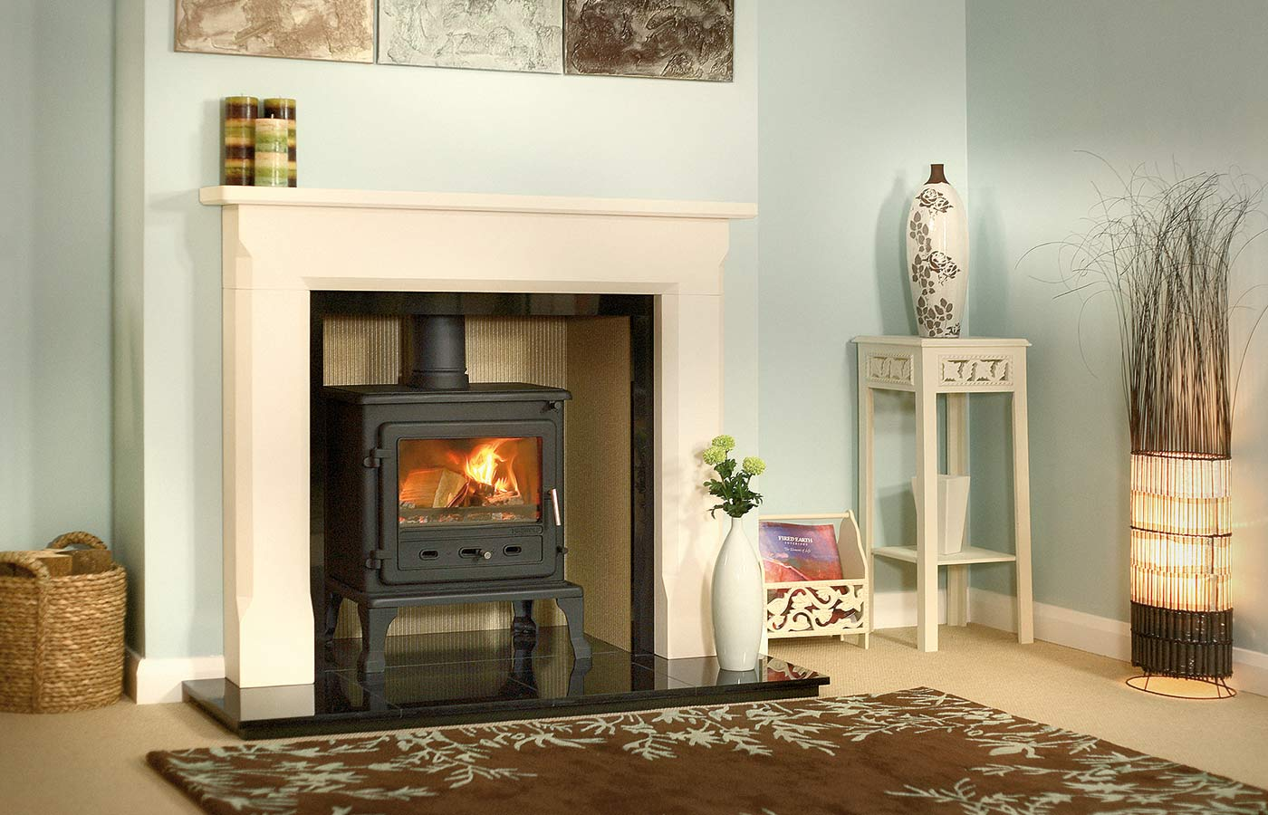 "Firefox 8.1 Multi-Fuel Stove with 54"" Sienna Mantel, Reeded Fireboard Chamber, Granite Slip Set, 54"" Slabbed Granite Hearth and Slabbed Granite Back Hearth"