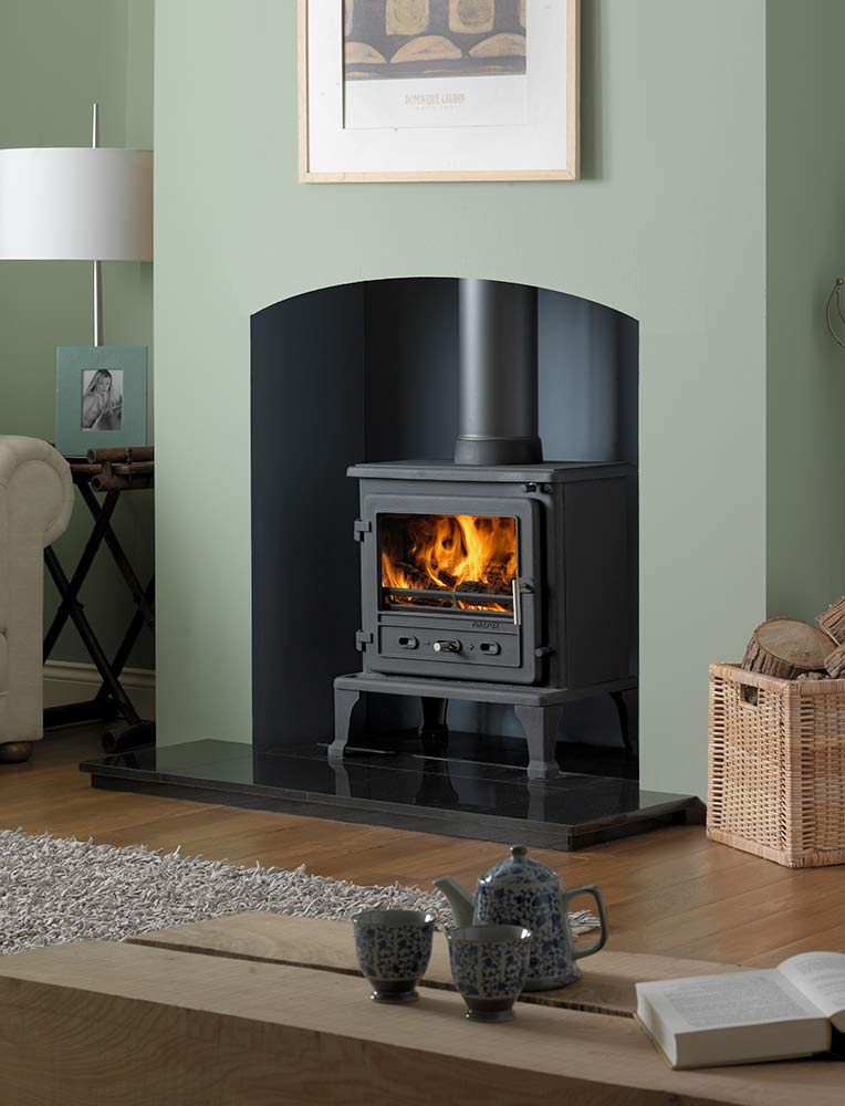 "Firefox 8.1 Multi-Fuel Stove with 48"" Slabbed Granite Hearth and Slabbed Granite Back Hearth"