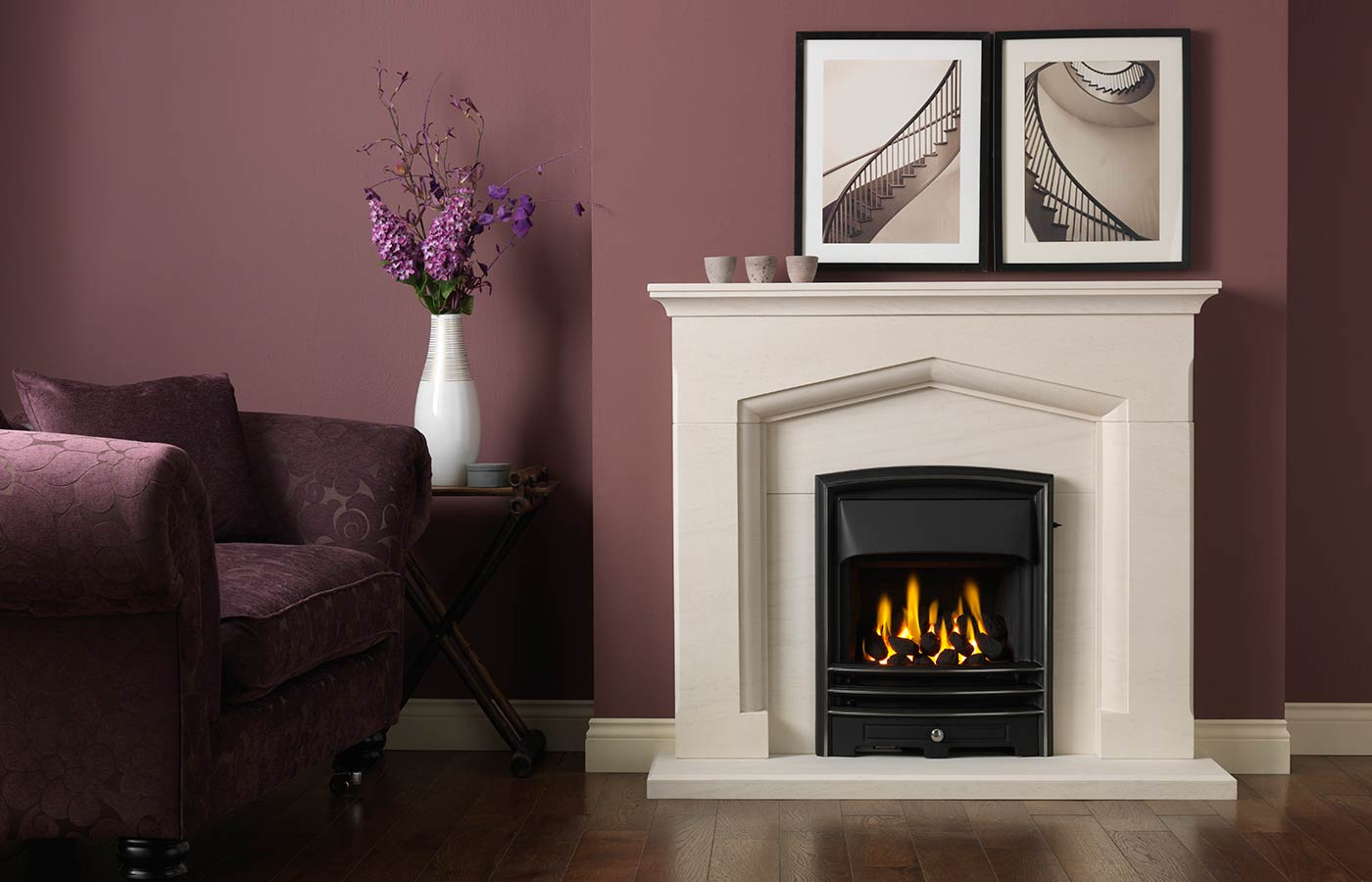 "Kendal 48"" Fireplace Suite in Portuguese Limestone with Gallery Lunar and Open-Fronted Gas Convector Fire (Slide Control)"