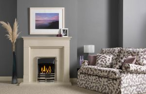 Langdon Fireplace Suite in Perla Micro Marble with Gallery Aurora in Chrome with Open-Fronted Gas Convector Fire (Slide Control)