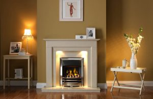 Stokesley Fireplace Suite in Perla Micro Marble with Vision EOS Fire in Chrome Finish with Open-Fronted Gas Convector Fire