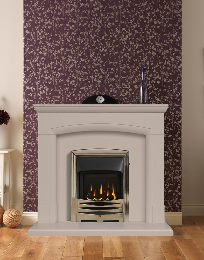 "Swainby 48"" Fireplace Suite in Chiltern Jurastone with Gallery Solaris (Antique Brass) and High Efficiency Glass-Fronted Gas Convector Fire (Slide Control)"