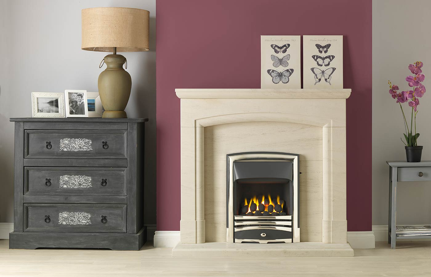 "Swainby 48"" Fireplace Suite in Portuguese Limestone with Vision Callisto (Chrome) and Open-Fronted Gas Convector Fire (Slide Control)"