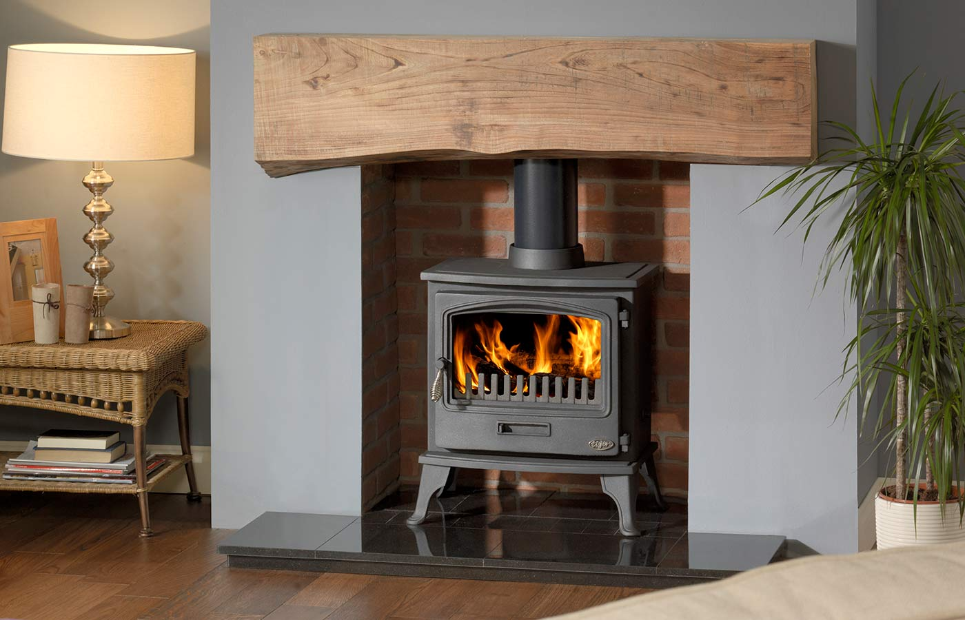 "Tiger Clean Burn Stove with Rustic Brick Chamber, 48"" Slabbed Granite Hearth, Slabbed Granite Back Hearth and Bespoke Beam"