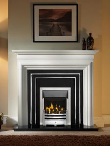 """Asquith 55"""" Agean limestone mantel with Hamilton highlight fascia, open-fronted gas convector fire (slide control) with polished Bauhaus fret and brushed steel Neptune trim, and 54"""" granite hearth"""