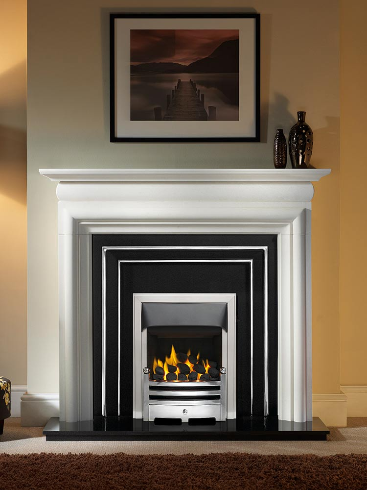 "Asquith 55"" Agean limestone mantel with Hamilton highlight fascia, open-fronted gas convector fire (slide control) with polished Bauhaus fret and brushed steel Neptune trim, and 54"" granite hearth"