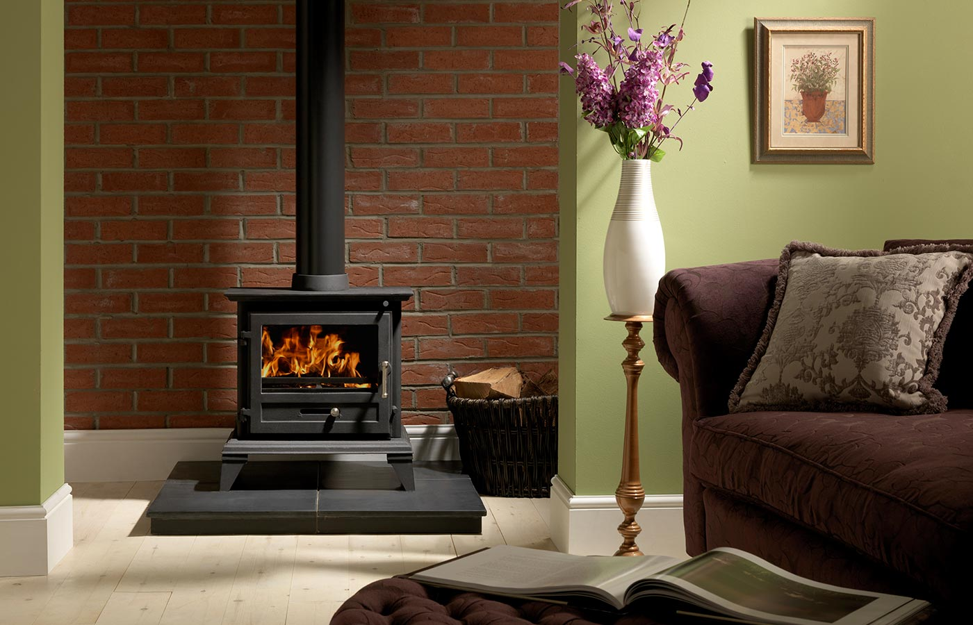 "Classic 8 Clean Burn Stove Shown with 36"" x 36"" Slabbed Slate Hearth"