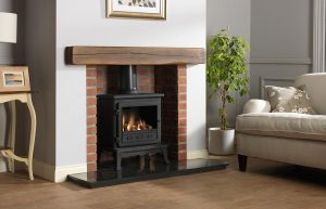 """Firefox 8 Gas Stove with 54"""" Rustic Dark Oak Effect Geocast Beam, Rustic Brick Chamber with Front Returns, 54"""" Granite Hearth"""