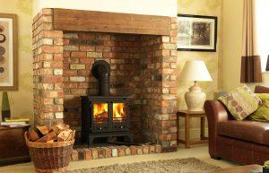 Firefox 12 boiler stove with bespoke brick-built fireplace