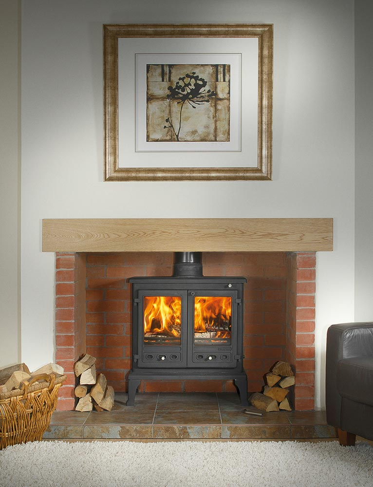 "Firefox 12 Multi-Fuel Stove with Oak Beam, Slabbed Brick Chamber and 56"" Barley Slate Hearth"