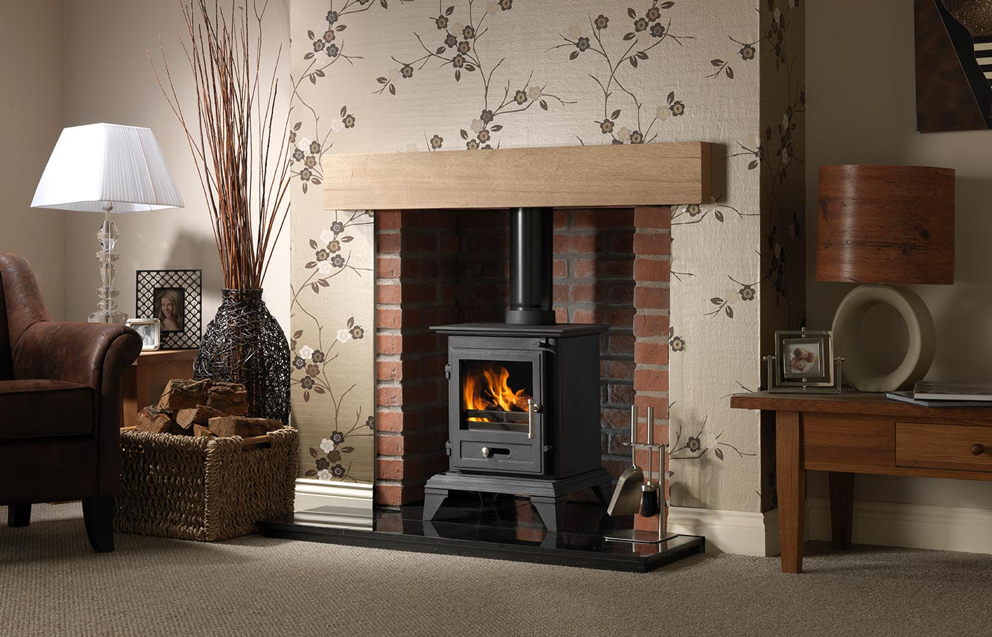 "Classic 5 Clean Burn Stove Shown with Rustic Brick Chamber with Front Returns, 48"" Slabbed Granite Hearth & Back Hearth and 48"" Rustic Light Oak Effect Geocast Beam"