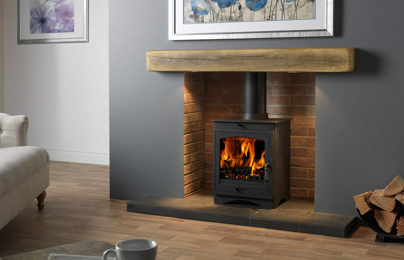 "Helios 8 Clean Burn Stove Shown with Red Ceramic Brick Bond Chamber, 54"" Porcelain Slate Tiled Hearth and 54"" Rustic Light Oak Effect Geocast Beam with Feature Lights"