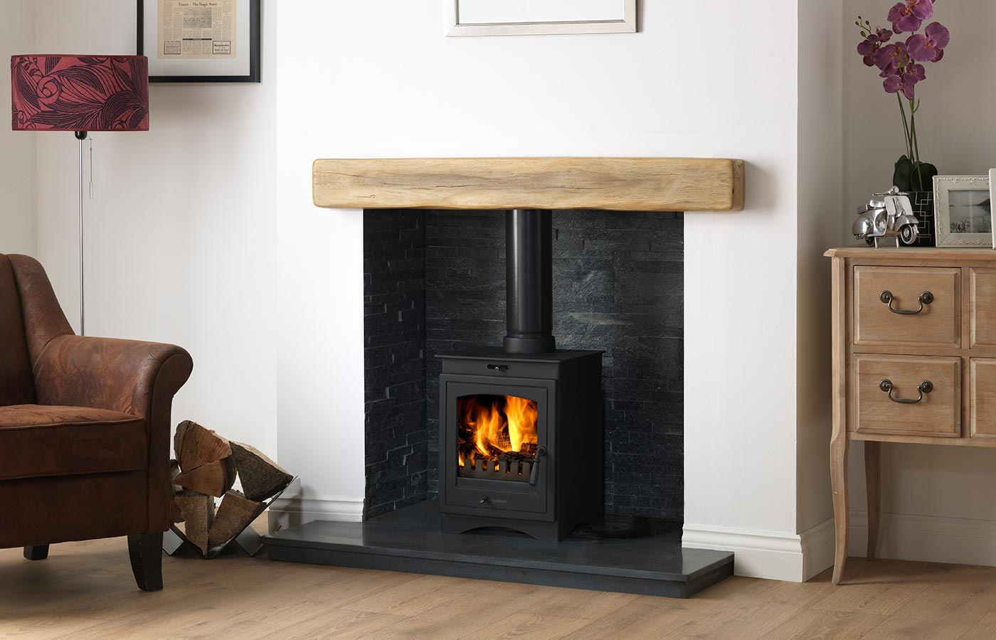 "Helios 5 Clean Burn Stove Shown with Staggered Black Slate Block Chamber, 48"" Slabbed Honed Granite Hearth & Back Hearth and 48"" Rustic Light Oak Effect Geocast Beam"