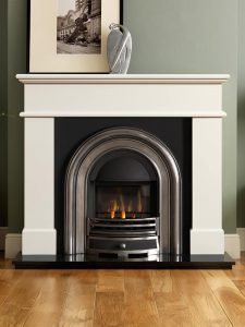 """Pisa 54"""" ivory perla micro marble mantel with Jubilee half-polished Efficiency Plus Insert, glass-fronted gas convector fire (remote control) and 54"""" granite hearth"""