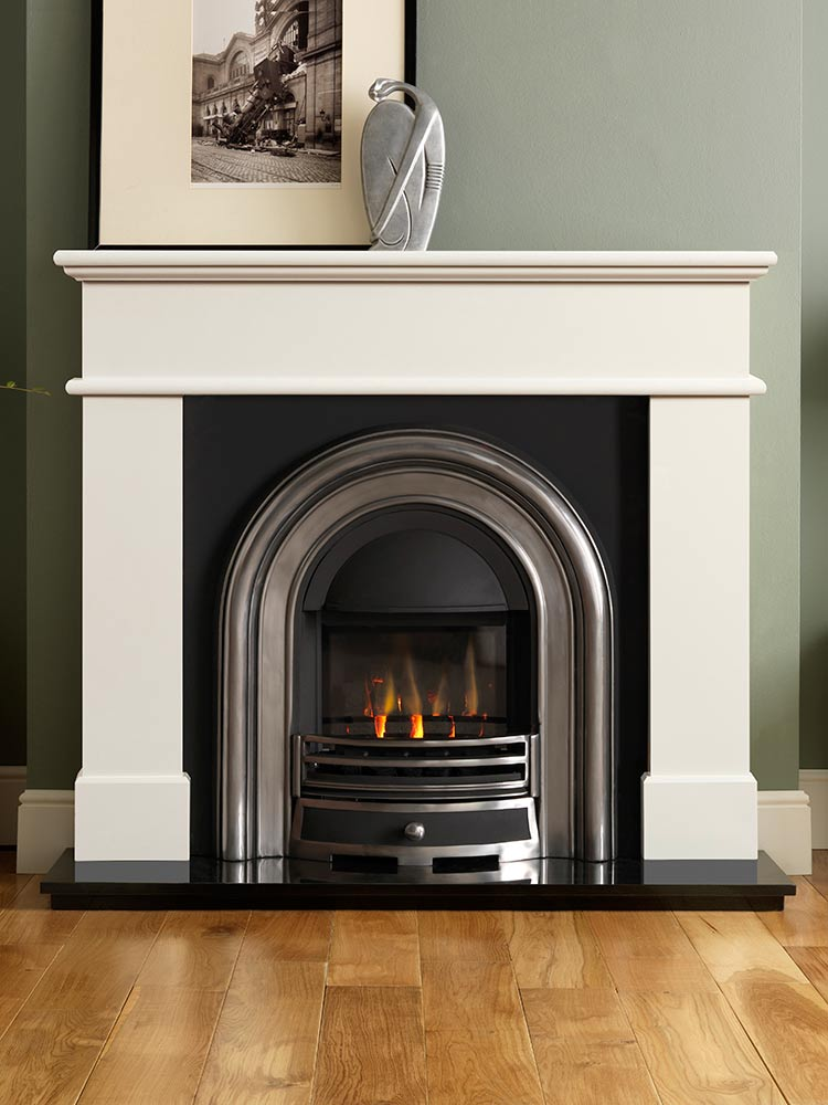 "Pisa 54"" ivory perla micro marble mantel with Jubilee half-polished Efficiency Plus Insert, glass-fronted gas convector fire (remote control) and 54"" granite hearth"