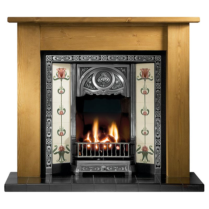 "Lincoln 54"" pine mantel with Tulip highlight tiled insert, Tulip burgundy/ivory tiles, decorative gas fire with ceramic coals and 54"" slate hearth"