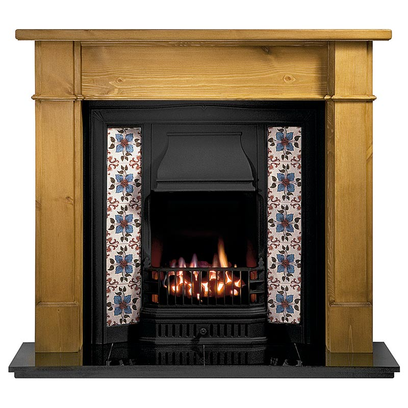 "Worcester 54"" pine mantel with Sovereign black tiled insert, Lavenham amethyst tiles, real coal fire and 54"" slabbed granite hearth"