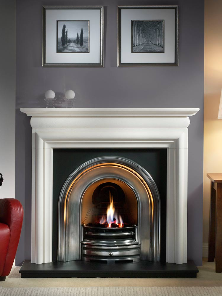 "Asquith 55"" Agean limestone mantel with Crown highlight arched insert, decorative gas fire with ceramic coals and 54"" slate hearth"