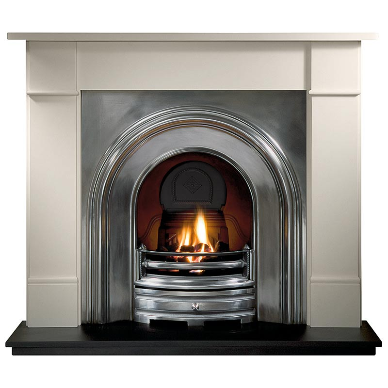 "Brompton 56"" Agean limestone mantel with Crown full-polished arched insert, decorative gas fire with ceramic coals and 54"" slate hearth"