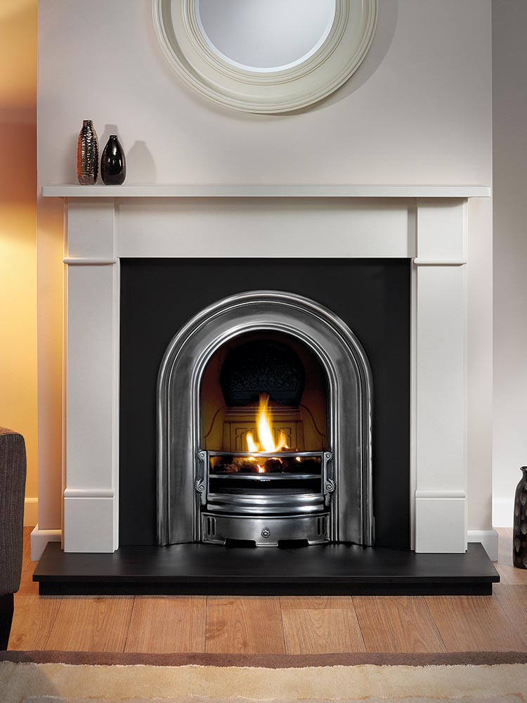 "Brompton 51"" Agean limestone mantel with Coronet half-polished arched insert, decorative gas fire with ceramic coals and 51"" slate hearth"