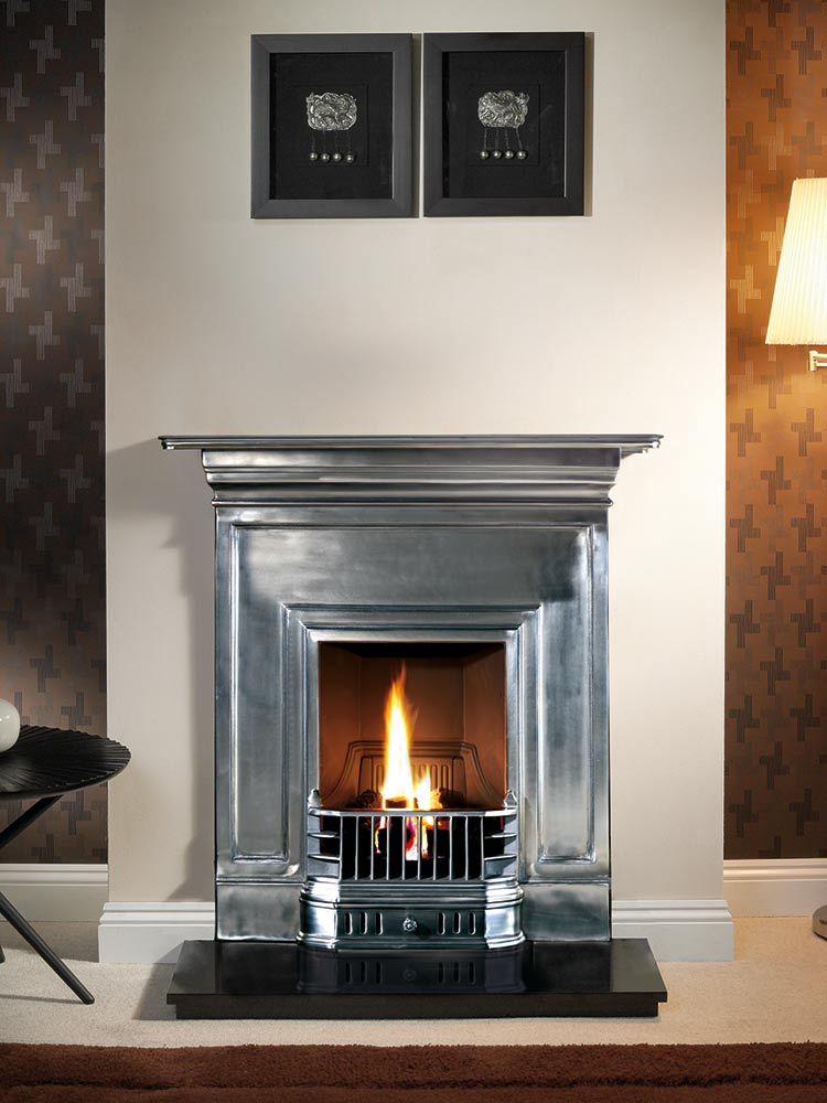 """Barcelona 36"""" full-polished, decorative gas fire with ceramic coals and 36"""" granite hearth"""