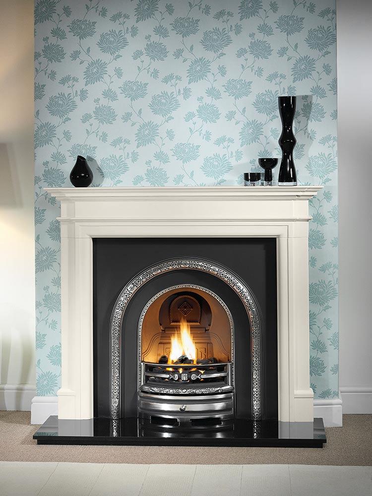 "Bartello 54"" Agean limestone mantel with highlight Lytton arched insert, decorative gas fire with ceramic coals and 54"" granite hearth"