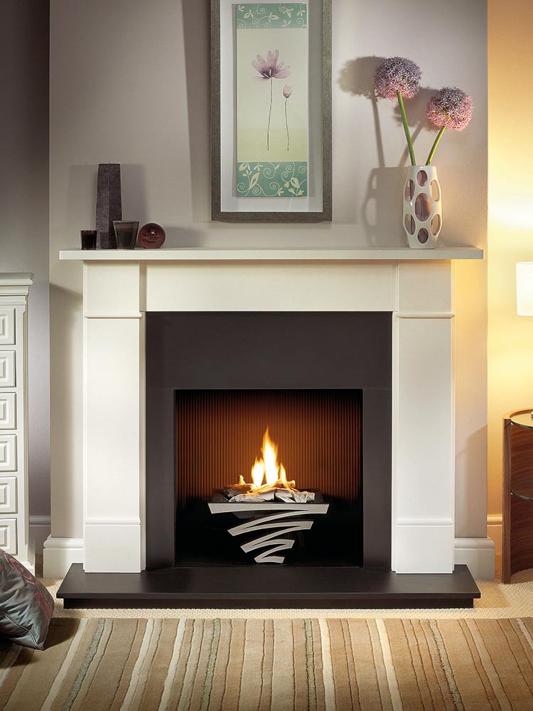 "Brompton 56"" Agean limestone mantel with Astra fire basket in chrome finish, decorative gas fire with ceramic driftwood, slate slips, black painted reeded fireboard chamber, 54"" slate hearth and slate back hearth"