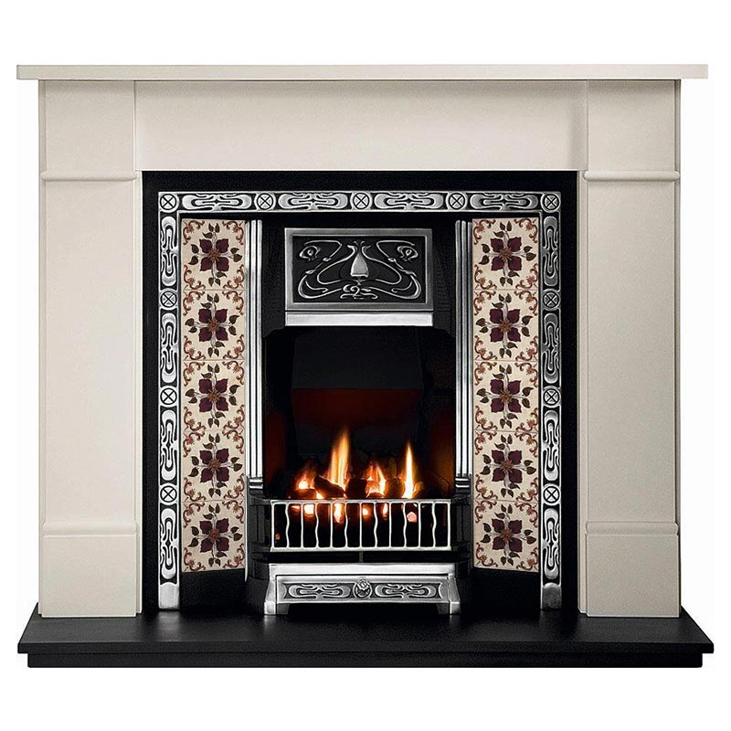 "Brompton 56"" Agean limestone mantel with Tulip highlight tiled insert, Lavenham velvet tiles, decorative gas fire with ceramic coals and 54"" slate heaerth"