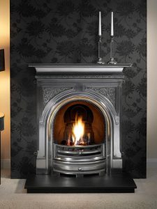 "Celtic 36"" full-polished combination fireplace with decorative gas fire, decorative coals and 36"" slate hearth"