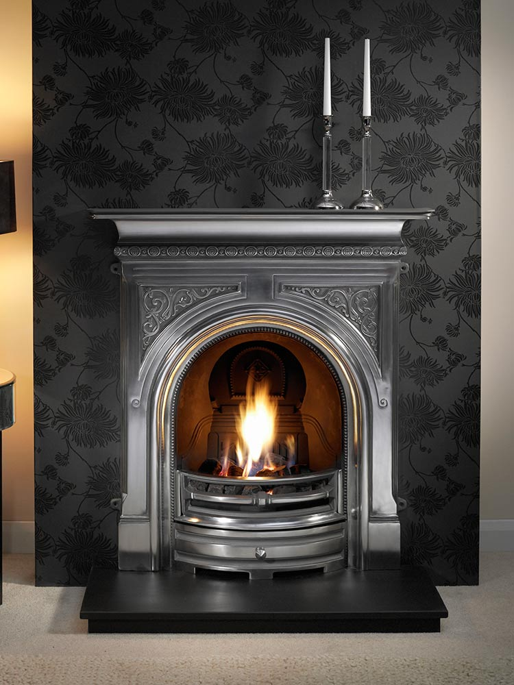 """Celtic 36"""" full-polished combination fireplace with decorative gas fire, decorative coals and 36"""" slate hearth"""
