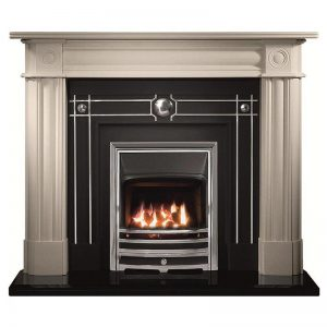 """Chiswick 56"""" Carrara Agean limestone mantel with Chamberlain highlight fascia, open-fronted gas convector fire with chrome finish Aurora frame and 54"""" bevelled granite hearth"""