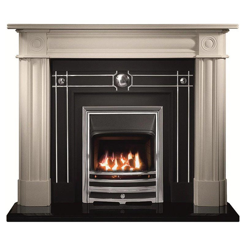 "Chiswick 56"" Carrara Agean limestone mantel with Chamberlain highlight fascia, open-fronted gas convector fire with chrome finish Aurora frame and 54"" bevelled granite hearth"